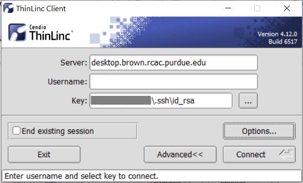 Thinlinc login with key