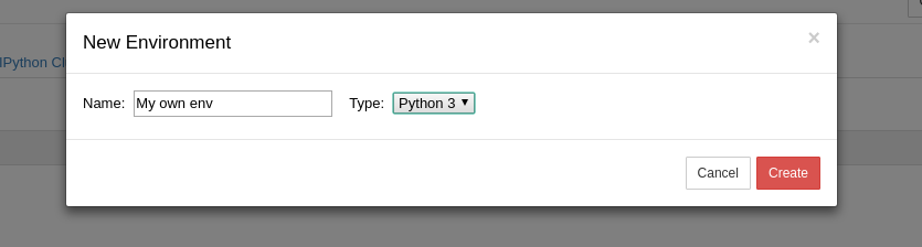 Create new environment from Jupyter GUI