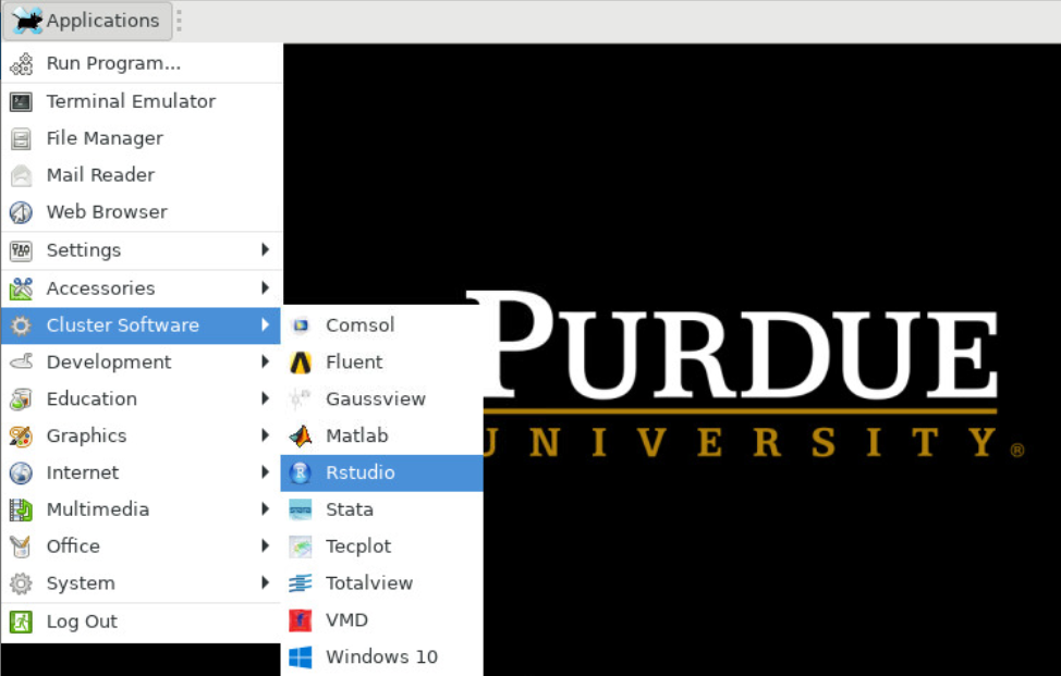 This shows where to find Rstudio under the 'Cluster Software' option in the list of Applications.