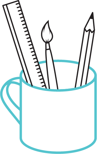 Cup with brushes
