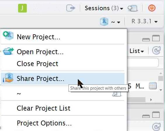 Project drop down menu